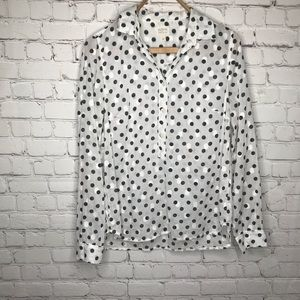 J. Crew White w/ Black Polka Dots Sheer Blouse